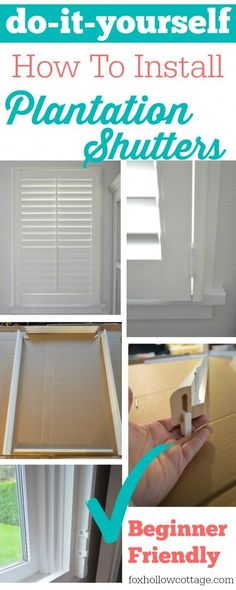 do it yourself:: a how to install plantation shutters tutorial - www.foxhollowcottage.com #diy #diyhomeimprovement