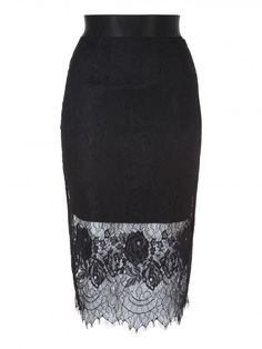 Black Lace Layered Pencil Skirt - Jane Norman