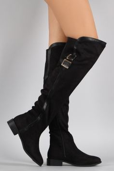 "Bamboo Contrast Trim Buckled Riding Over-The-Knee Boots. Description These  over-the-knee boots  feature a decorative double buckles accent on shaft, round toe silhouette, contrasting trims, elastic gusset insert, and asymmetrical collar. Finished with block heel, cushioned insole, soft faux fur interior lining, and side zipper closure.Material: Vegan Suede (man-made)Sole: Synthetic  Measurement Heel Height: 1.25"" (approx)Shaft Length: 22.5"" (including heel)Top Opening Circumference: 16""…"