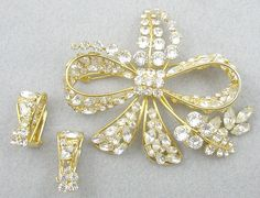 Napier Rhinestone Bow Brooch Set - Garden Party Collection Vintage Jewelry