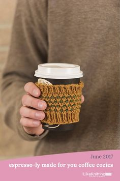 Useful and simple—two elements that make a perfect Father's Day gift. He'll be thankful for your thoughtfully knit textured coffee cozies on his way to work (plus, they are an environmentally friendly option to cardboard cozies at the coffee shop). Coffee Cozy, Espresso Coffee, Best Coffee, Coffee Shop, Coffee Recipes, Beautiful Kitchens, Knitting Patterns Free, Cozies, Kitchen Interior