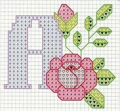 Assorted alphabet charts with roses. Small Cross Stitch, Cross Stitch Letters, Cross Stitch Rose, Cross Stitch Flowers, Cross Stitch Charts, Cross Stitch Designs, Stitch Patterns, Cross Stitching, Cross Stitch Embroidery