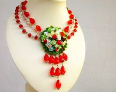 Red necklace Scarlet necklace of beads Roses by jewelryNatalie