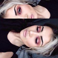 Red pink eyeshadow. Grunge makeup goth 90s