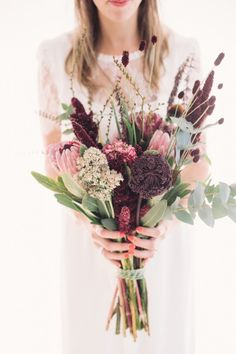 Protea and desert flower DIY wedding bouquet | Photography by Jonathan Wherrett