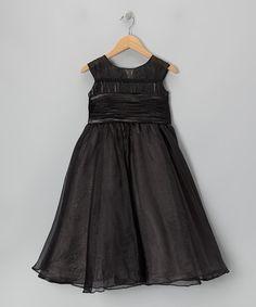 Loving this Black Tie-Back Cap-Sleeve Dress - Girls on #zulily! #zulilyfinds