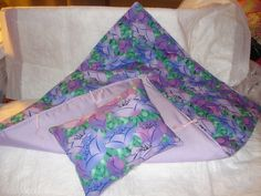 Purple floral print quilt and pillow for Canines and Felines - dcqs1. $21.95, via Etsy.