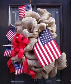Patriotic Decorations | Patriotic Burlap Wreath, Americana Wreath, July 4th Wreaths, Memorial ...
