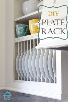 Amazing & so clever! DIY - Inside cabinet plate rack