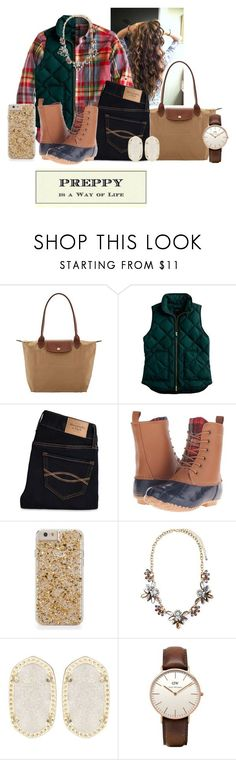"""This is my favorite outfit, love it❤️"" by flroasburn ❤ liked on Polyvore featuring Longchamp, J.Crew, Abercrombie & Fitch, Tundra Boots, Forever 21, Kendra Scott, Daniel Wellington, women's clothing, women's fashion and women"