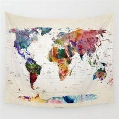 World Map Wall Hanging Tapestry Indian Mandala Throw Blanket Bedspread Home Dorm Living Room Decorative Accessories Color World Map, World Map Art, Gadget, World Map Tapestry, Mandala Throw, Indian Tapestry, Modern Bathroom Decor, Tapestry Wall Hanging, Wall Hangings