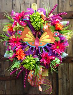 Butterfly Wreath by WilliamsFloral on Etsy, $105.00