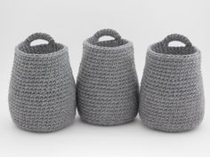 Crochet Hanging Baskets, Set of 3/Hand-Made Hanging Baskets/Bathroom Storage Baskets/Nursery Storage/Crochet Baskets/Hanging Storage