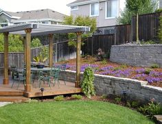 Backyard Deck, Block Walls, Wood Pergola Retaining and Landscape Wall Cyprex Construction Landscapes San Jose, CA