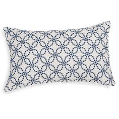 Housse de coussin en coton brodé blanc et bleu 30x50cm SITIA Indigo, Bed Pillows, Pillow Cases, Pattern, Home Decor, Table Toppers, Needlepoint, Blue Nails, White People