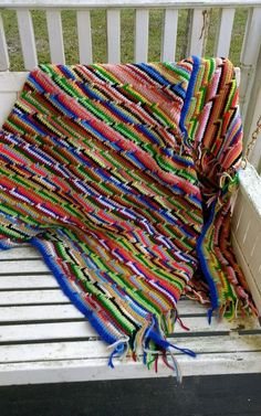 Vintage knit crochet multicolored rainbow striped blanket throw afghan fringed  #Unbranded #Traditional