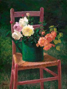 Arnett, Jo Anna (b,1950)- Watering Can-Vase, Outside on Chair