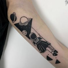 Swinging Space Girl Tattoo by Marta Kudu