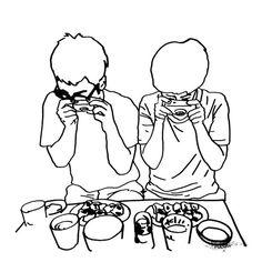 ギョーザ トル マイメン. (translation: my men the pot sticker photo takers.) ++ illustrator . pentool (p)