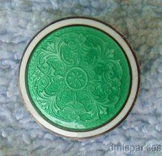Vintage sterling silver basse taille enamel button.