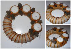 Adventní věnec malý_ sisal Originální věnec pro Váš Adventní stůl. Svíčky použity čajové po vyhoření lze doplnit znovu náplň či změnit jinak barevnou náplní vzhled věnce.