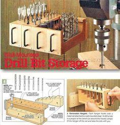 Wall-Mounted Drill Bit Storage - Drill Press Tips, Jigs and Fixtures | WoodArchivist.com