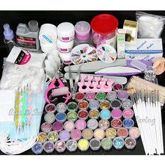 Acrylic Powder Nail Art Kit UV Gel Manicure DIY Tips Polish Brush Set UK Post