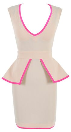 'ROCHELLE' NUDE & NEON PINK PEPLUM V NECK STRETCH CREPE DRESS