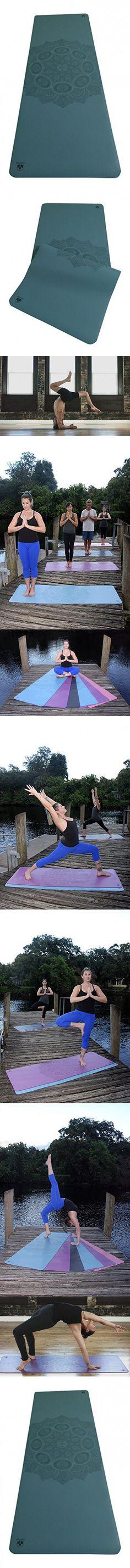 Clever Yoga Premium LiquidBalance Mat Eco and Body Friendly Sweat Grip Non-Slip With Carrying Yoga Bag (Mandala-Blue)
