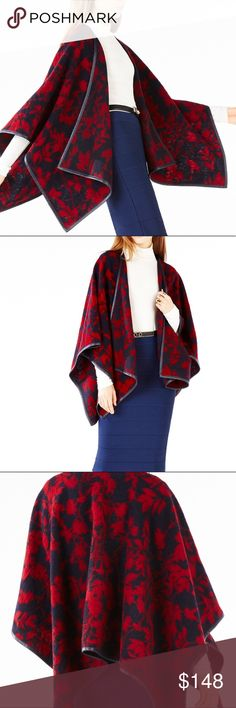 BCBGMAXAZRIA Rudy faux leather floral print poncho Throw this chic poncho on to dress up casual separates to workwear. Smooth faux leather trim on floral woven jacquard body. 80%Wool 20%polyester material. Loose fitting, drape fit. Hand wash cold, dry clean recommended. BCBGMaxAzria Jackets & Coats Capes