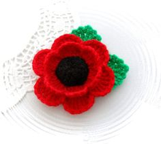 Crochet Brooch Red Poppy Flower Corsage Brooch by CraftsbySigita