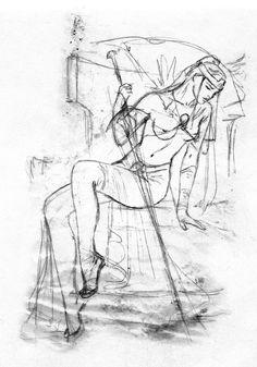 luis royo_the labyrinth tarot_minor arcana_swords_queen of swords_sketch.jpg (1120×1600)
