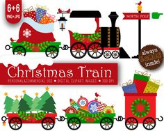 santa claus and christmas train digital clipart set for personal and rh pinterest com Christmas Toy Train Trains at Christmas