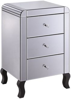 Smoked Mirror Bedside Table 3 Drawer Art Deco (Bedside table)