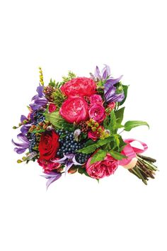 Berry Beautiful Bouquet: Avalanche rose, vibernum berry, snowberry