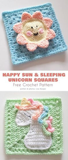 - Happy Sun Square and Sleeping Unicorn Squares Free Patterns, crochet unicorn - Point Granny Au Crochet, Crochet Squares Afghan, Crochet Motifs, Granny Square Crochet Pattern, Crochet Blocks, Baby Blanket Crochet, Free Crochet, Crochet Patterns, Crochet Appliques