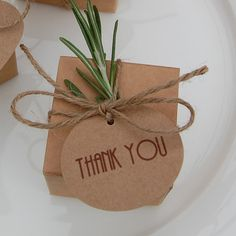 Kraft card wedding 'Thank you' favour labels by sallycinnamonsigns, £6.99