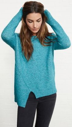 Asymmetrical Bouclee Sweater in Teal