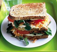 Give the traditional layered sandwich a meat-free twist by combining houmous with healthy tomato, watercress and carrot