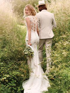 Taft & Tule Lillian West Wedding Dress Trouwjurk Bruidsjurk Vintage Romantisch  Open Rug Boho Bohemian Princes Lace Green