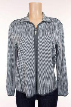 EXCLUSIVELY MISOOK Sweater Petite PM M Medium Gray Herringbone Zip Cardigan Work #ExclusivelyMisook #Cardigan #Work