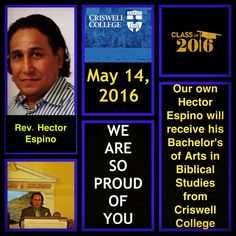 We recognize our next upcoming graduate: Rev. Hector Espino