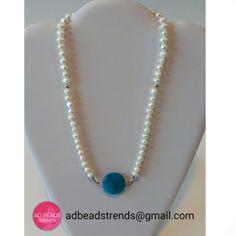 Este diseño de #perlitascultivadas pero esta vez con una #agata en color turqueza  #adbeadstrends #beads #trends #elegancia #fashion #fashionpty #fashionnecklace #necklace #panama #pty #moda #style #musthave #hechoamano #handmade ❤
