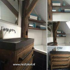 Een prachtige RestyleXL badkamer met oud houten badkamermeubels.