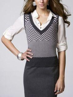 herringbone womens sweater vest