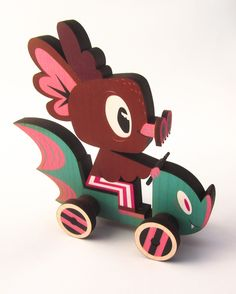 Gary Ham X Ink It Labs: The Hermees Roadster maple wood push toy is limited to 50 pieces. Vinyl Toys, Vinyl Art, Push Toys, Fabric Toys, Wooden Art, Designer Toys, Soft Dolls, Wood Toys, Toy Boxes