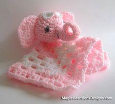 Amigurumi Elephant Blanket Crochet Crocheted Pattern Snuggle Security Lovey Blankie PDF Instant Download