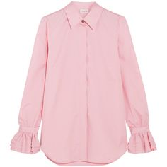 Paul & Joe Ealiette crystal-embellished cotton shirt (1,070 SAR) ❤ liked on Polyvore featuring tops, pink, ruffle shirt, frilly shirt, pink shirts, shirt tops and flounce top