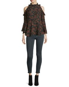 Eloane+Floral+Silk+Cold-Shoulder+Blouse+&+Elle+Faded+Stretch+Ankle+Jeans+by+Iro+at+Neiman+Marcus.