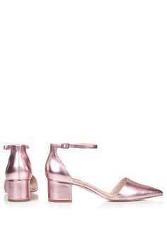 JIVE Metallic Pink Mid-Heel Ankle Strap Shoes from Topshop